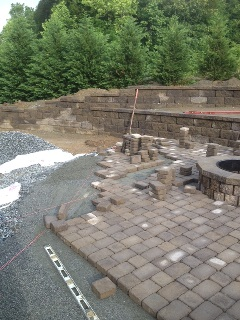 Retaining Wall, Paver Patio and Firepit